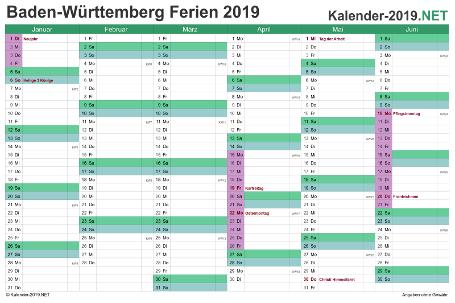 Halbjahreskalender 2019 zum Ausdrucken zum Ausdrucken - mit FerienBaden-Württemberg Vorschau