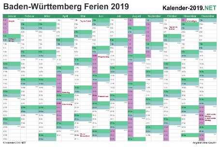 Kalender 2019 zum Ausdrucken zum Ausdrucken - mit FerienBaden-Württemberg Vorschau