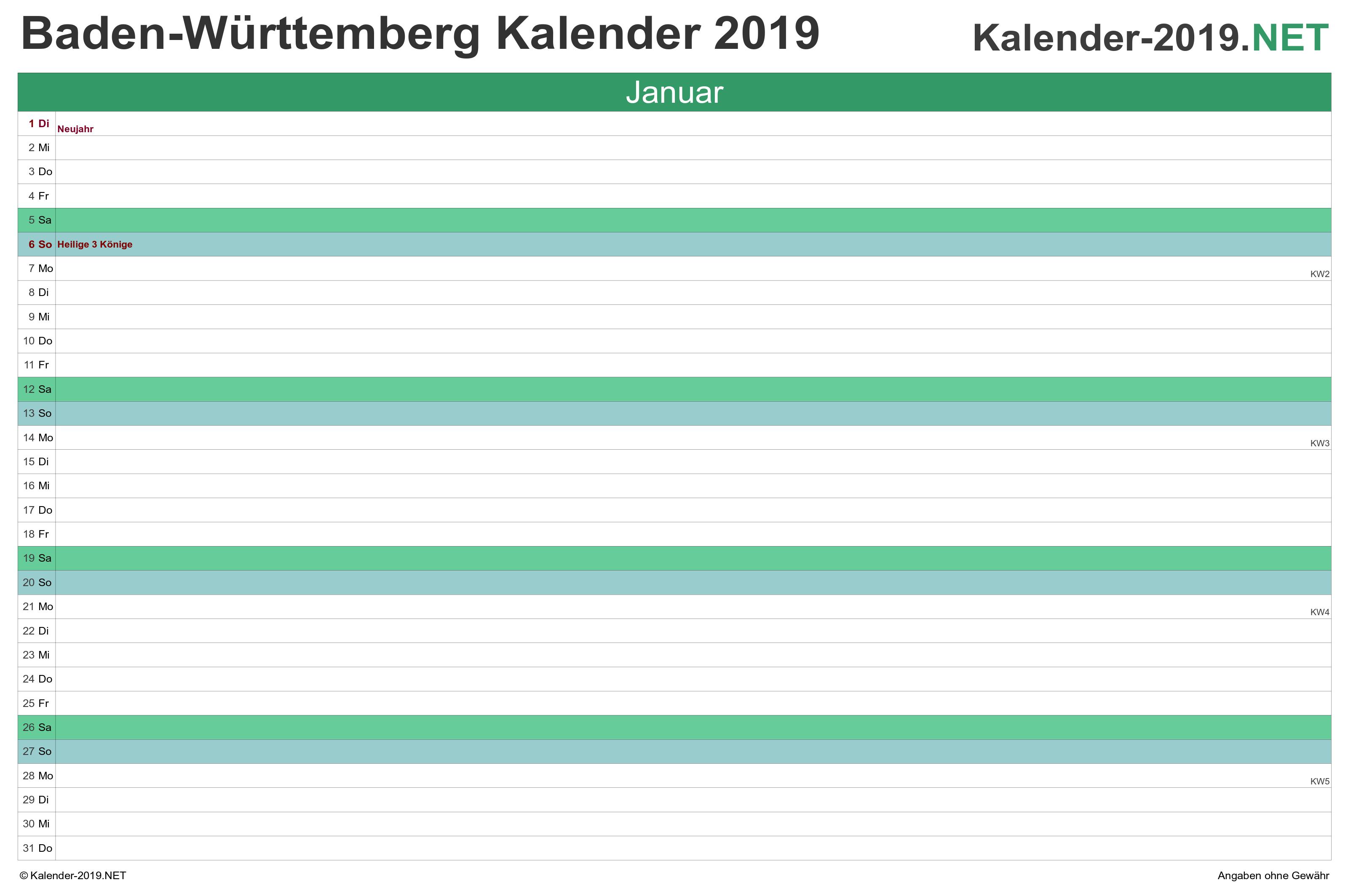 kalender 2019 mit arbeitstagen baden württemberg
