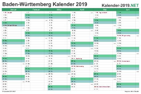 Baden-Württemberg Halbjahreskalender 2019 Vorschau