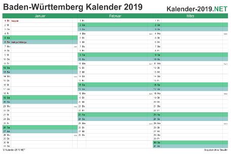 Baden-Württemberg Quartalskalender 2019 Vorschau