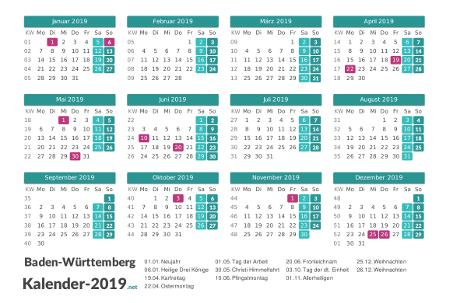 Baden-Württemberg Kalender 2019 + Feiertage Vorschau