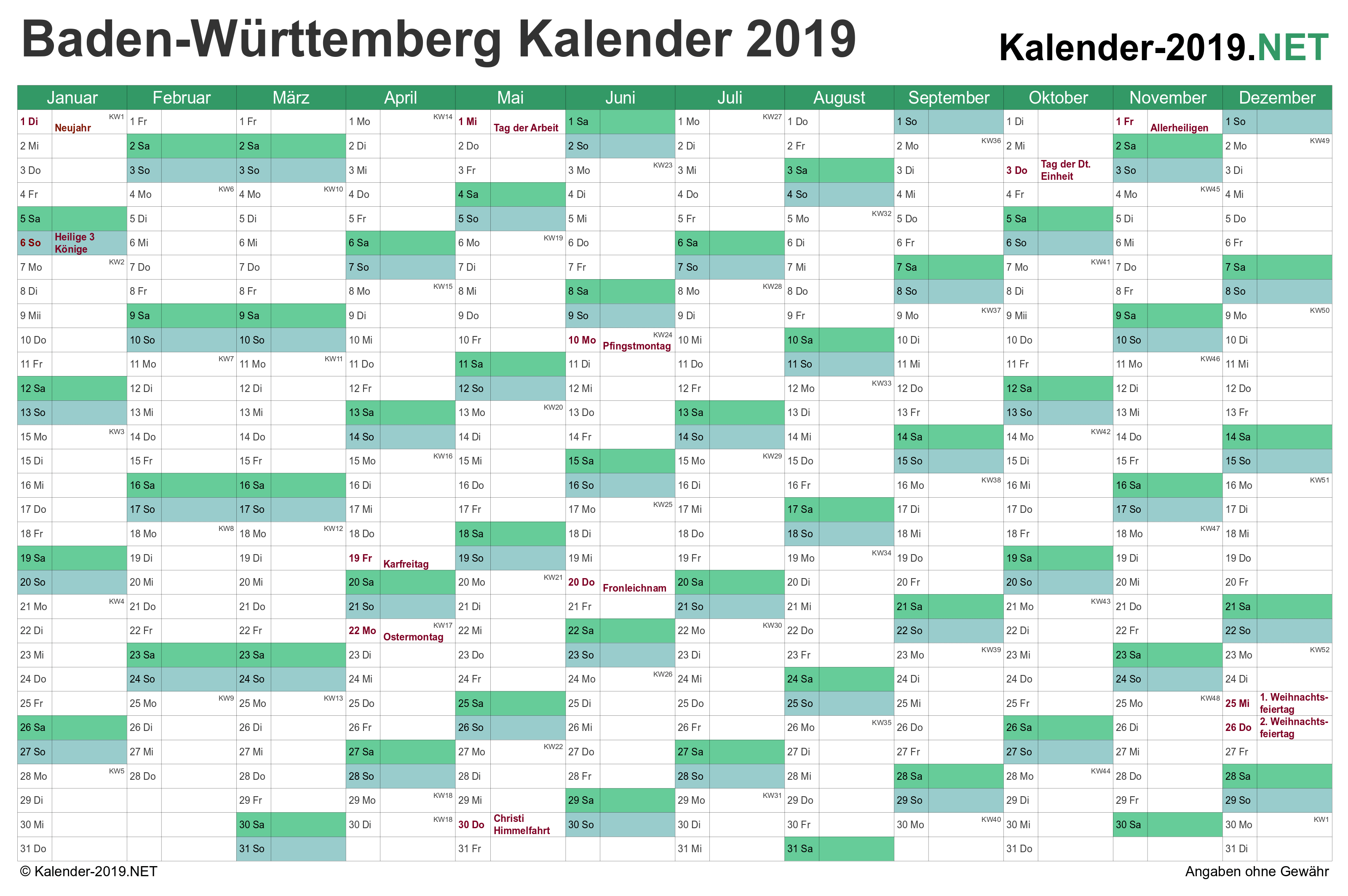 kalender 2019 baden w rttemberg. Black Bedroom Furniture Sets. Home Design Ideas