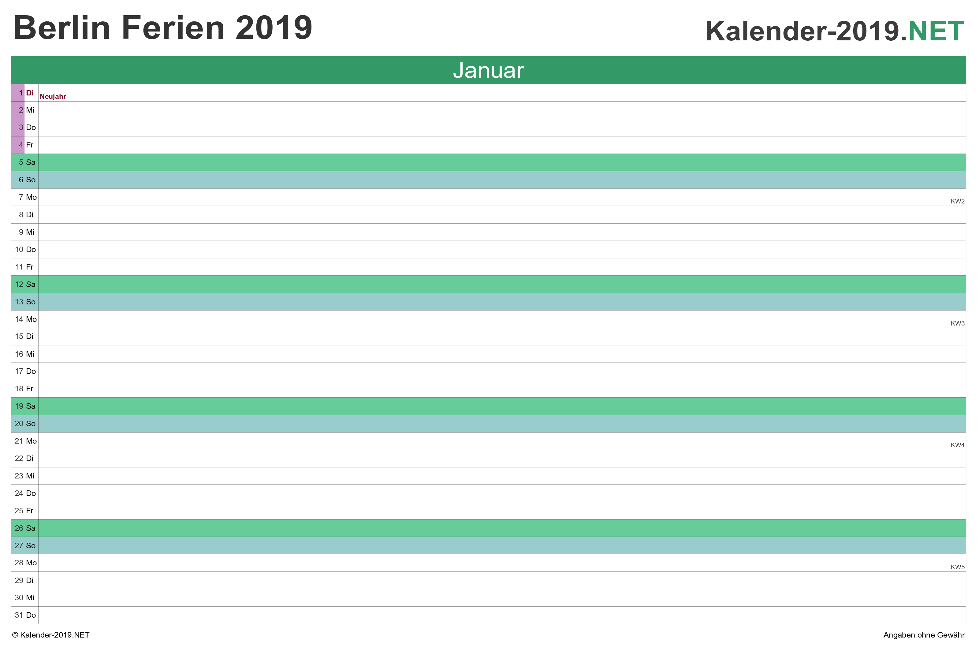 Ferien Berlin 2019 Ferienkalender übersicht
