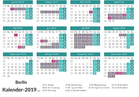 Ferien 2019 + Feiertage zum Ausdrucken - Berlin Vorschau
