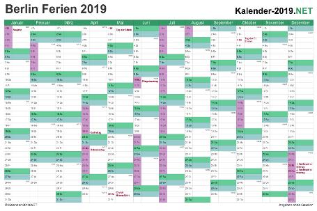Kalender 2019 zum Ausdrucken zum Ausdrucken - mit FerienBerlin Vorschau