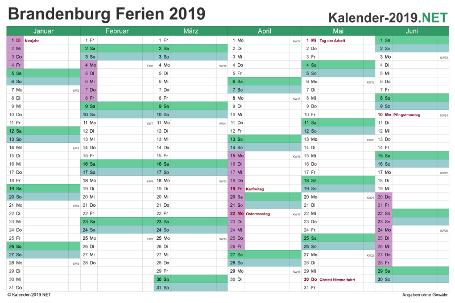 Halbjahreskalender 2019 zum Ausdrucken zum Ausdrucken - mit FerienBrandenburg Vorschau