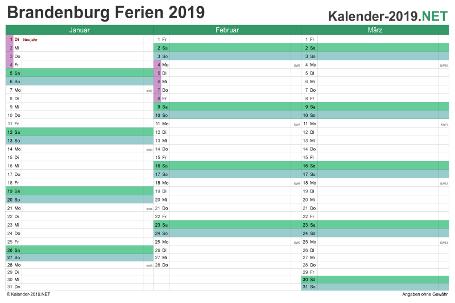 Quartalskalender 2019 zum Ausdrucken zum Ausdrucken - mit FerienBrandenburg Vorschau
