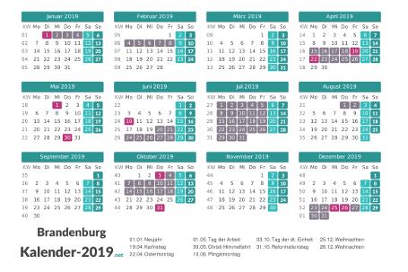 Ferien 2019 + Feiertage zum Ausdrucken - Brandenburg Vorschau