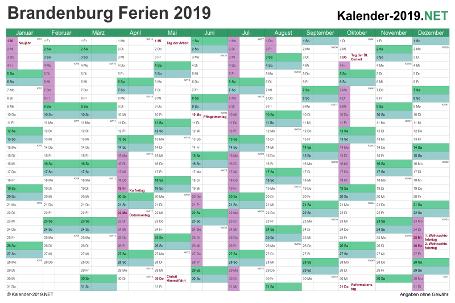 Kalender 2019 zum Ausdrucken zum Ausdrucken - mit FerienBrandenburg Vorschau