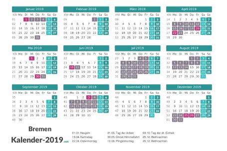 Kalender mit Ferien Bremen 2019 Vorschau