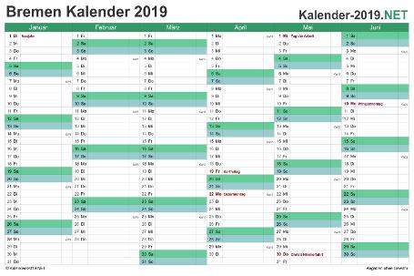 Bremen Halbjahreskalender 2019 Vorschau