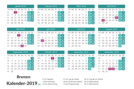 Bremen Kalender 2019 + Feiertage Vorschau