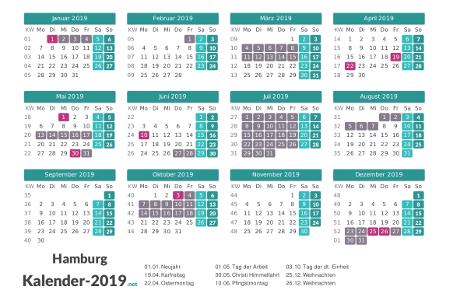 Ferien 2019 + Feiertage zum Ausdrucken - Hamburg Vorschau