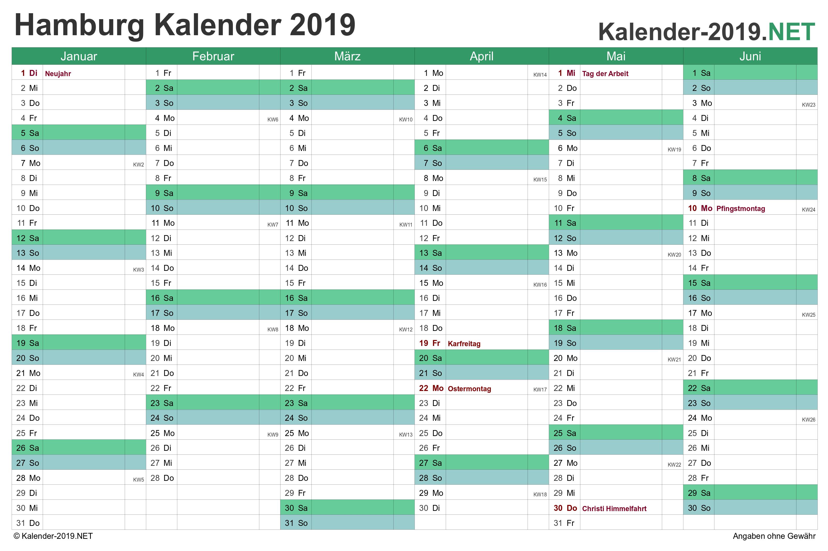 Kalender 2019 Hamburg