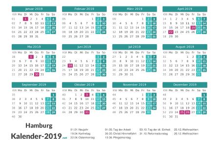 Hamburg Kalender 2019 + Feiertage Vorschau