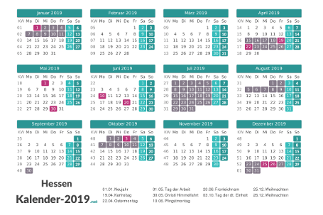 Ferien 2019 + Feiertage zum Ausdrucken - Hessen Vorschau