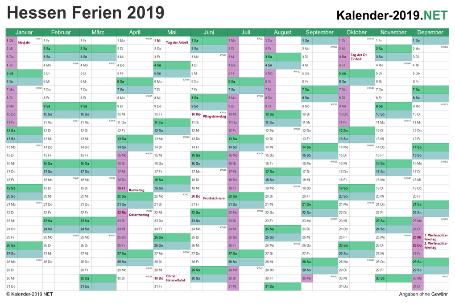 Kalender 2019 zum Ausdrucken zum Ausdrucken - mit FerienHessen Vorschau