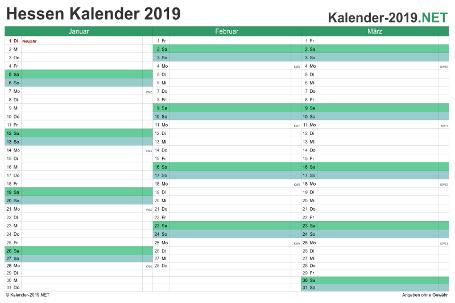 Quartalskalender 2019 Vorschau