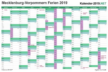 Kalender 2019 zum Ausdrucken zum Ausdrucken - mit FerienMeck-Pomm Vorschau