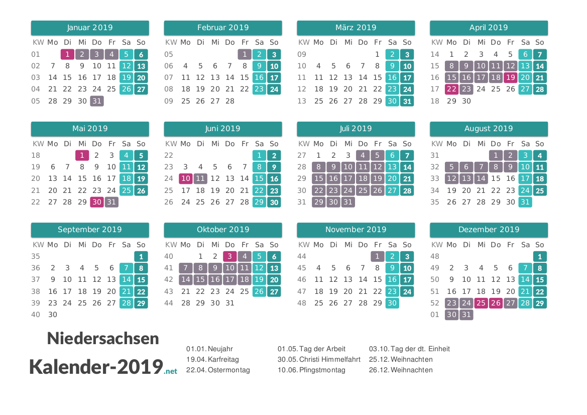 Ferien Niedersachsen 2019 Ferienkalender Ubersicht