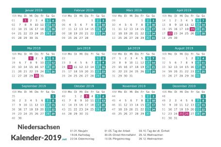 Niedersachsen Kalender 2019 + Feiertage Vorschau
