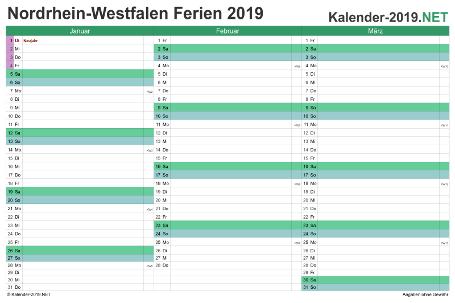Quartalskalender 2019 zum Ausdrucken zum Ausdrucken - mit FerienNordrhein-Westfalen Vorschau