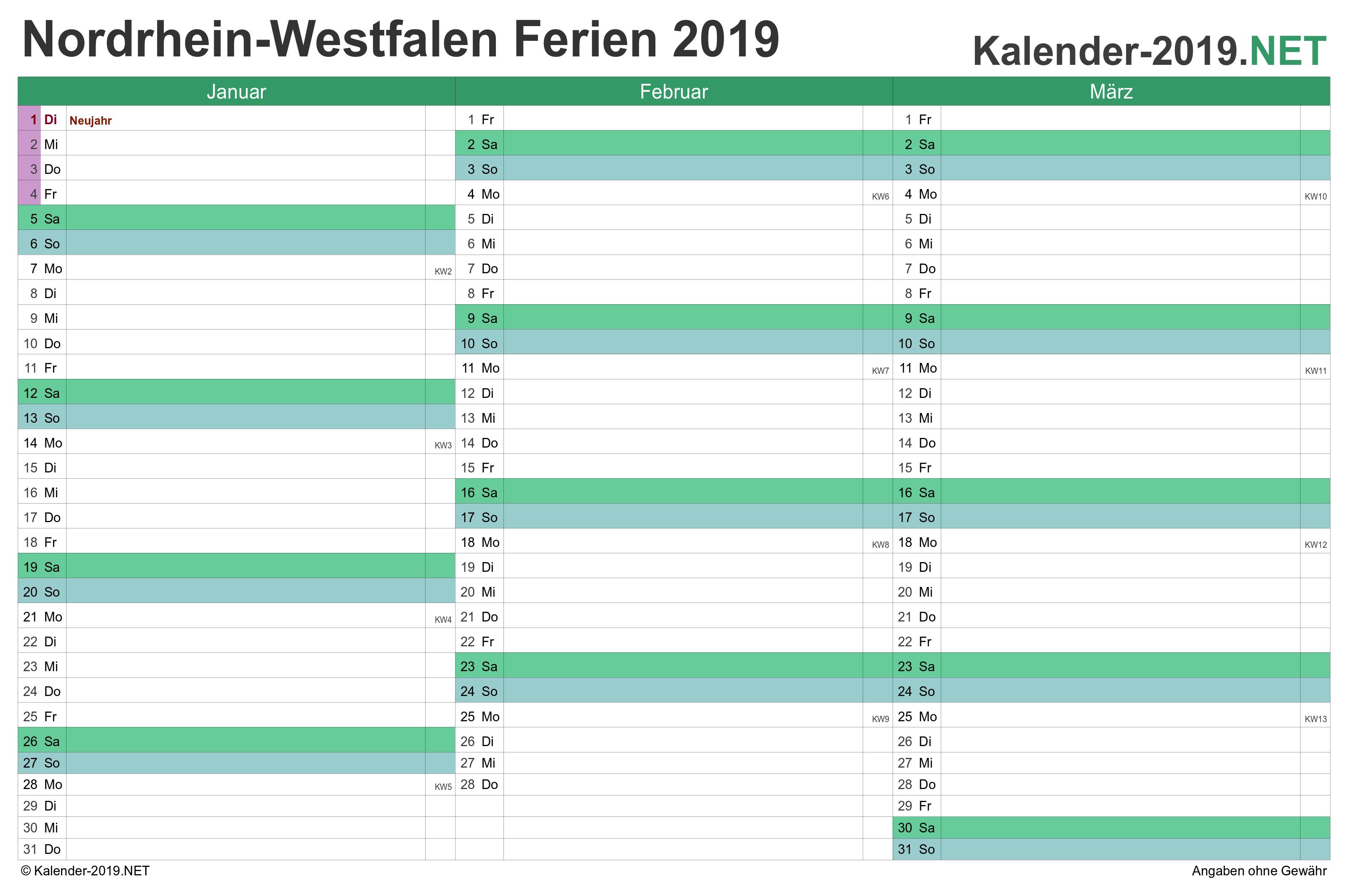 Ferien Nordrhein Westfalen 2019 Ferienkalender Ubersicht