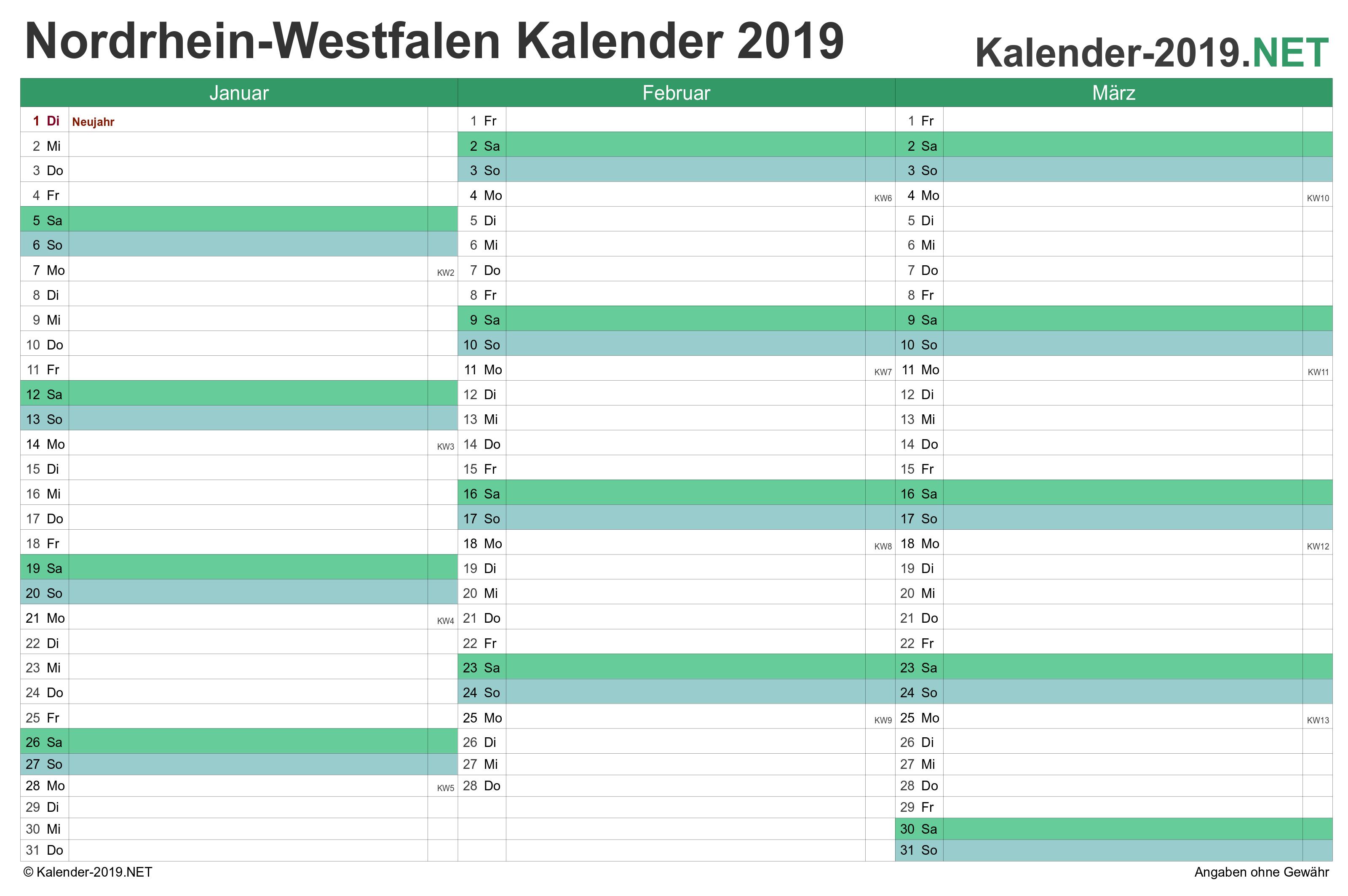 Kalender 2019 Nordrhein Westfalen