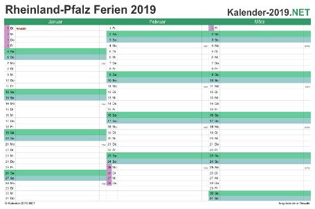 Quartalskalender 2019 zum Ausdrucken zum Ausdrucken - mit FerienRheinland-Pfalz Vorschau