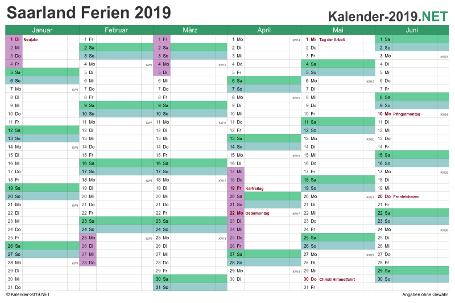 Halbjahreskalender 2019 zum Ausdrucken zum Ausdrucken - mit FerienSaarland Vorschau
