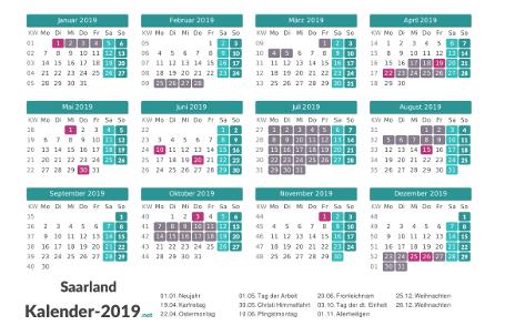 Ferien 2019 + Feiertage zum Ausdrucken - Saarland Vorschau