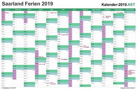 Kalender 2019 zum Ausdrucken zum Ausdrucken - mit FerienSaarland Vorschau