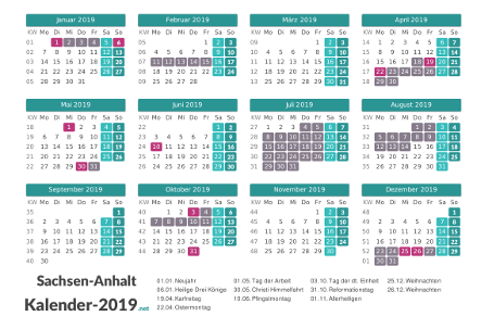 Kalender mit Ferien Sachsen-Anhalt 2019 Vorschau