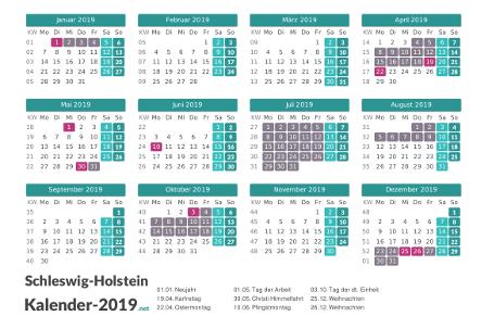 Kalender mit Ferien Schleswig-Holstein 2019 Vorschau