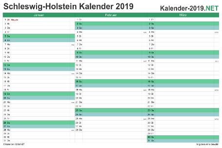 Schleswig-Holstein Quartalskalender 2019 Vorschau