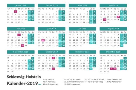 Schleswig-Holstein Kalender 2019 + Feiertage Vorschau