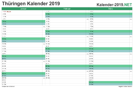 Thüringen Quartalskalender 2019 Vorschau