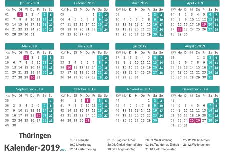 Thüringen Kalender 2019 + Feiertage Vorschau