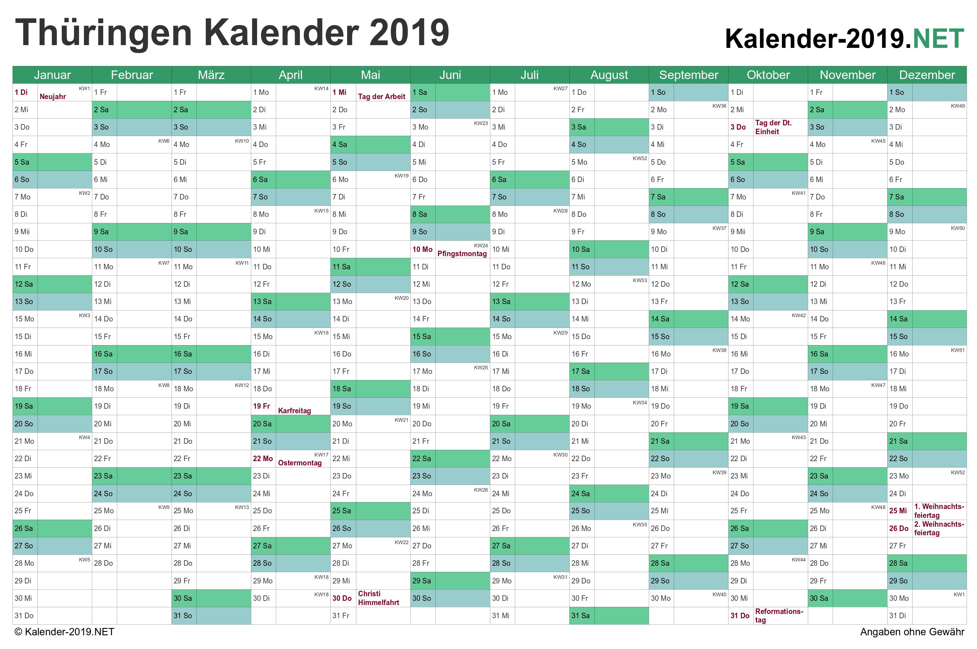 Weihnachten 2019 Thüringen.Kalender 2019 Thüringen